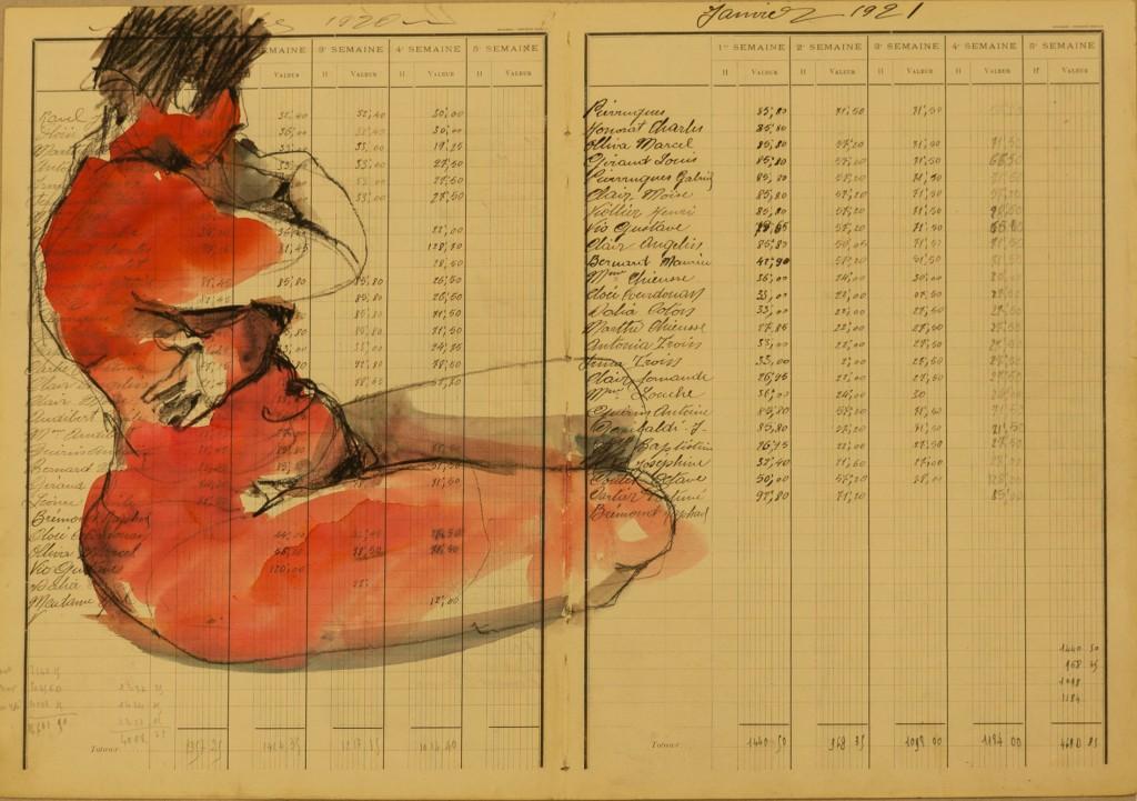 Pierre noire/aquarelle sur vieux manuscrit