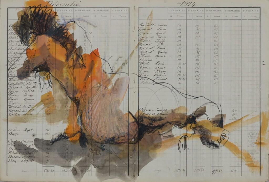 Pierre noire / aquarelle sur manuscrit ancien