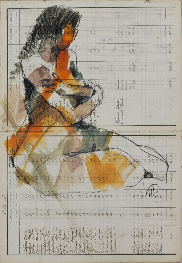 Pierre noire/ aquarelle sur manuscrit ancien