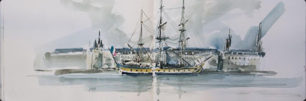 L'HERMIONE à Bordeaux/ crayon aquarelle