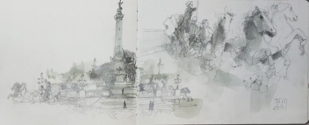 Fontaine Quinconces/ aquarelle, crayon