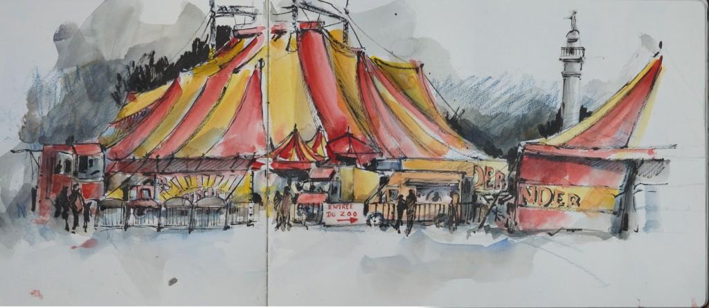Cirque à Bordeaux/ aquarelle, feutre