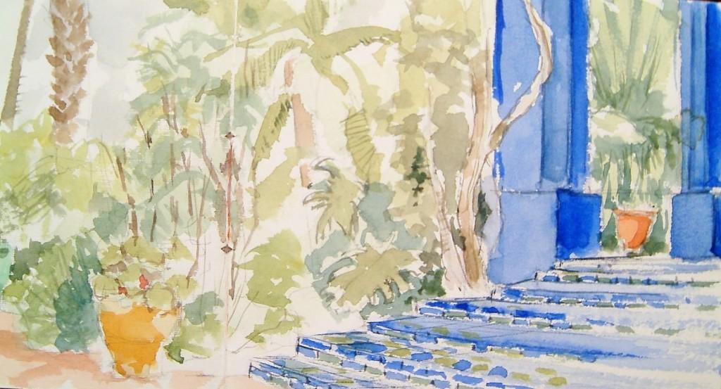 Marrakech, jardins Majorelle/ aquarelle