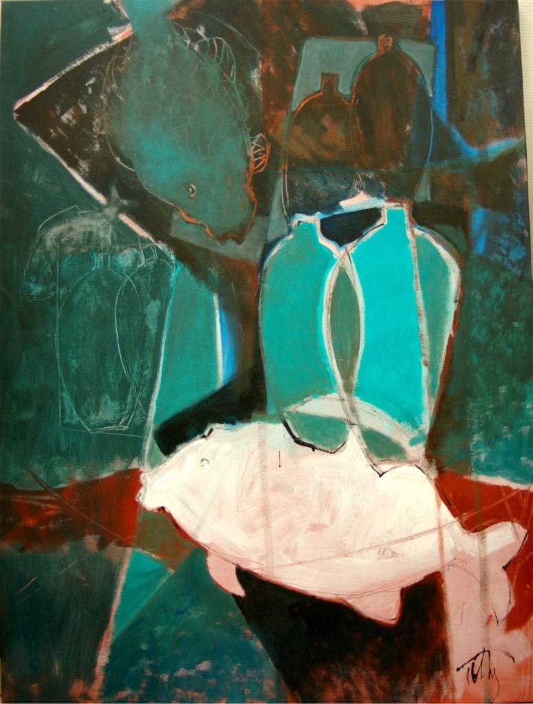 nature morte /acrylique sur toile/60 F